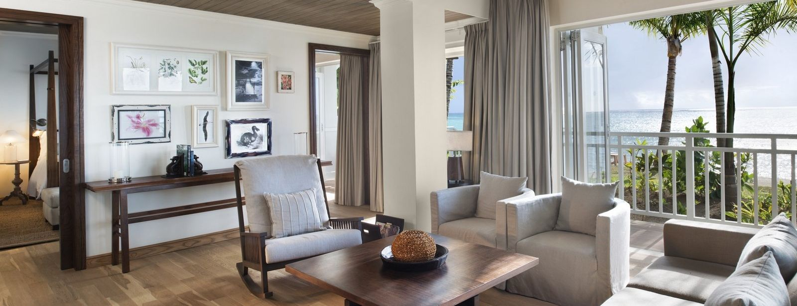 St. Regis Mauritius Beachfront St. Regis Suite living area with ocean view