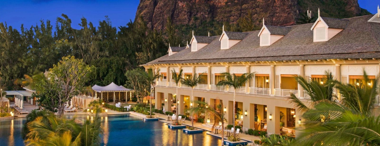 St. Regis Mauritius Manor House Exterior View at Twilight